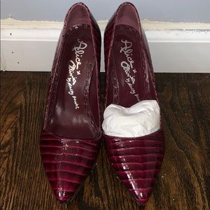 Alice and Olivia Burgundy Snake Skin Pumps size 36